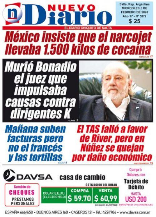 Tapa del 05/02/2020 Nuevo Diario de Salta