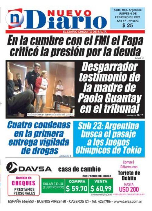 Tapa del 06/02/2020 Nuevo Diario de Salta