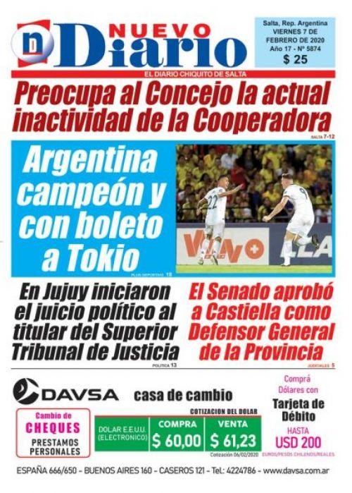 Tapa del 07/02/2020 Nuevo Diario de Salta