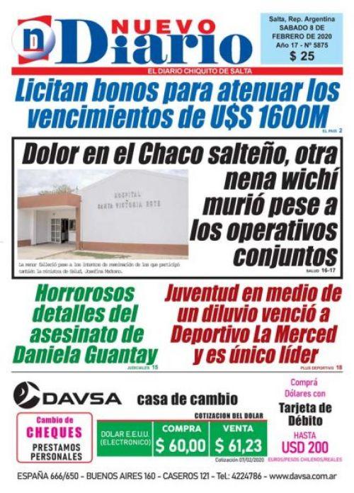 Tapa del 08/02/2020 Nuevo Diario de Salta