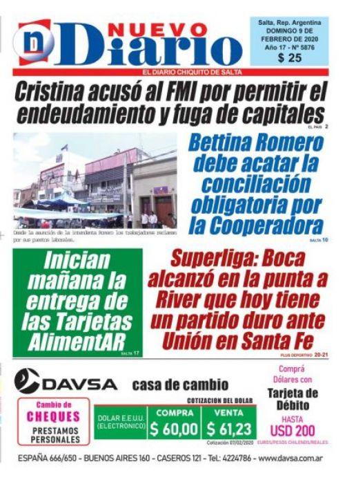 Tapa del 09/02/2020 Nuevo Diario de Salta