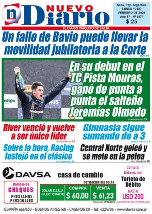 Tapa del 10/02/2020 Nuevo Diario de Salta