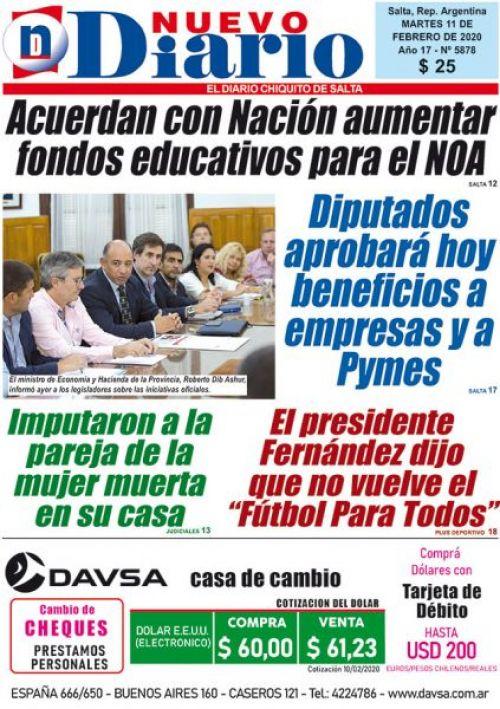 Tapa del 11/02/2020 Nuevo Diario de Salta