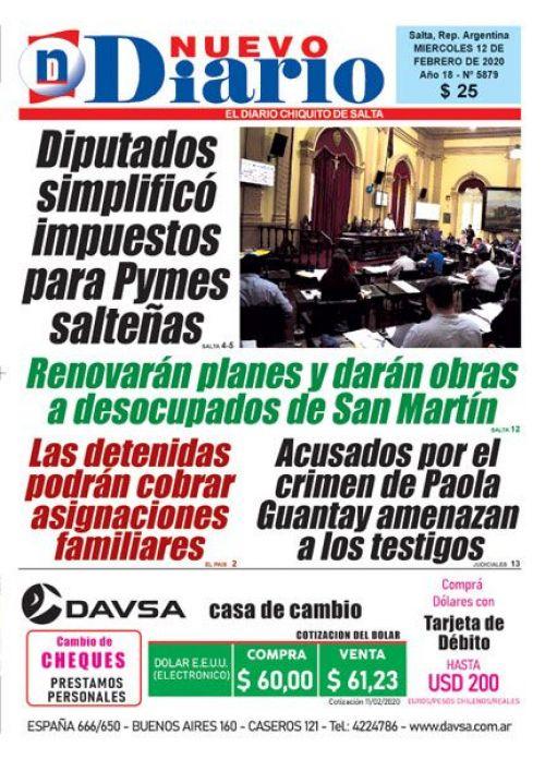 Tapa del 12/02/2020 Nuevo Diario de Salta