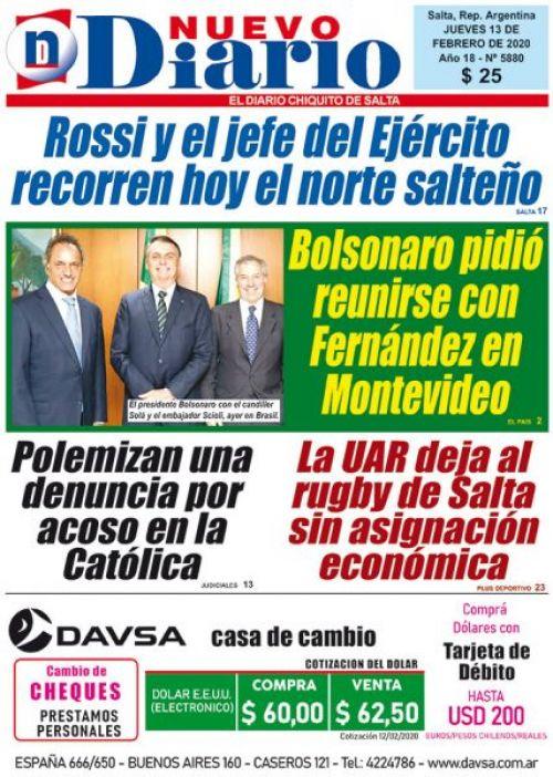 Tapa del 13/02/2020 Nuevo Diario de Salta