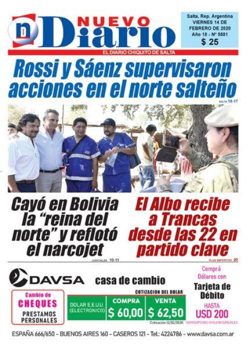 Tapa del 14/02/2020 Nuevo Diario de Salta