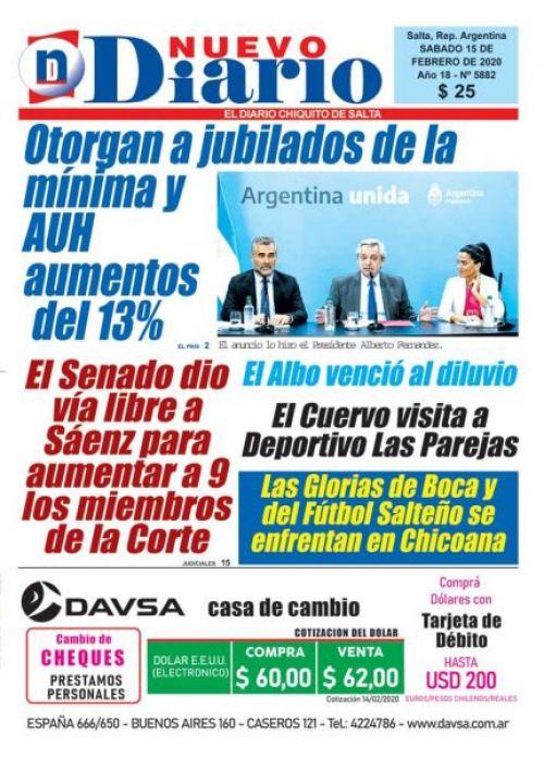 Tapa del 15/02/2020 Nuevo Diario de Salta