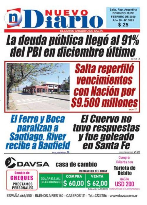 Tapa del 16/02/2020 Nuevo Diario de Salta