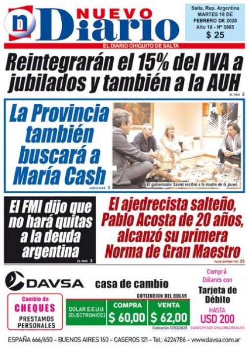 Tapa del 18/02/2020 Nuevo Diario de Salta