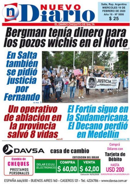 Tapa del 19/02/2020 Nuevo Diario de Salta
