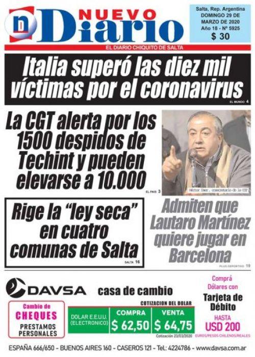 Tapa del 29/03/2020 Nuevo Diario de Salta