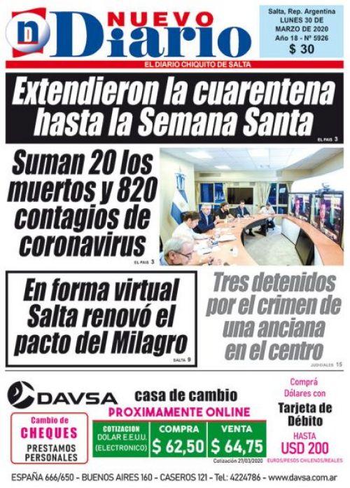 Tapa del 30/03/2020 Nuevo Diario de Salta