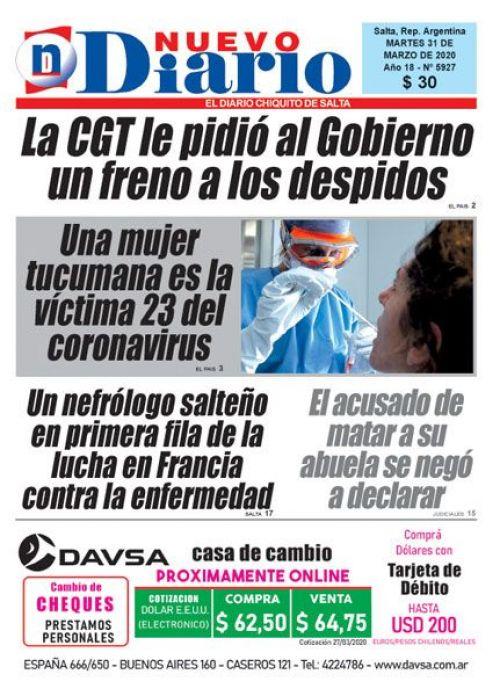 Tapa del 31/03/2020 Nuevo Diario de Salta