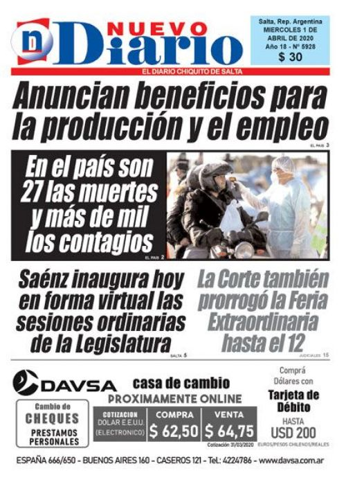 Tapa del 01/04/2020 Nuevo Diario de Salta