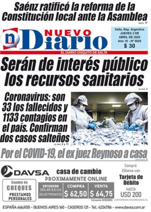 Tapa del 02/04/2020 Nuevo Diario de Salta