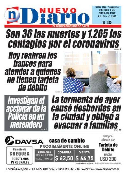 Tapa del 03/04/2020 Nuevo Diario de Salta