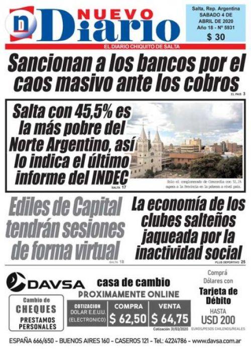 Tapa del 04/04/2020 Nuevo Diario de Salta
