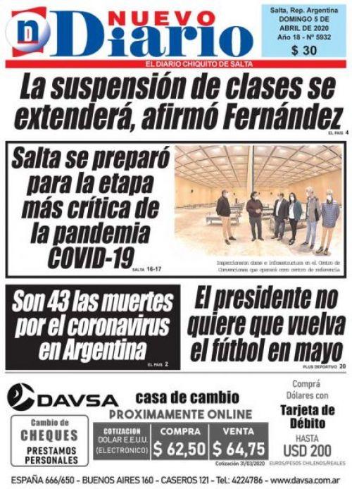 Tapa del 05/04/2020 Nuevo Diario de Salta