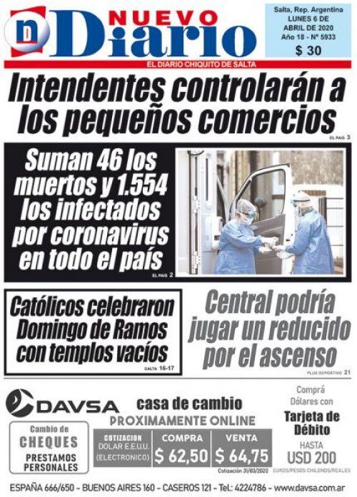 Tapa del 06/04/2020 Nuevo Diario de Salta