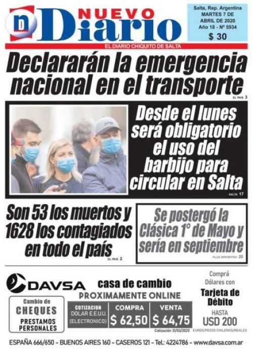 Tapa del 07/04/2020 Nuevo Diario de Salta