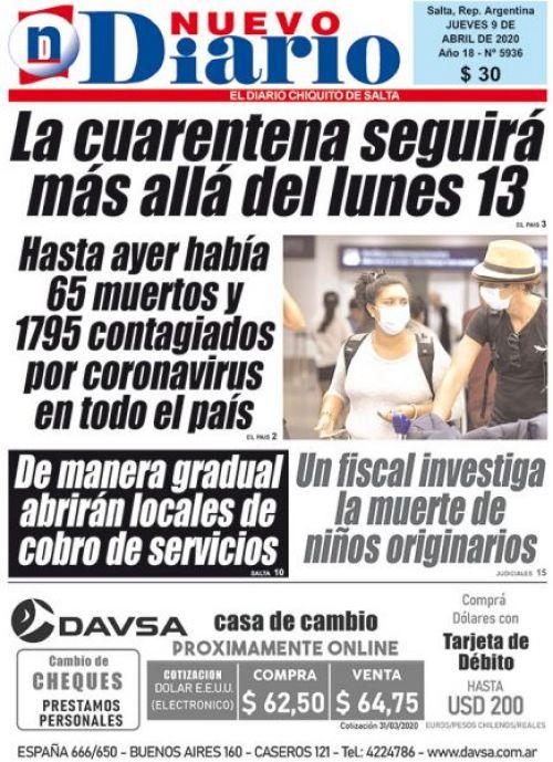 Tapa del 09/04/2020 Nuevo Diario de Salta