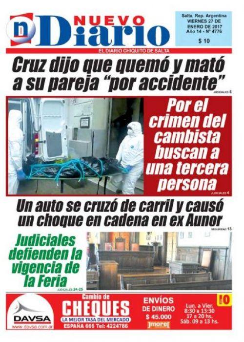 Tapa del 27/01/2017 Nuevo Diario de Salta