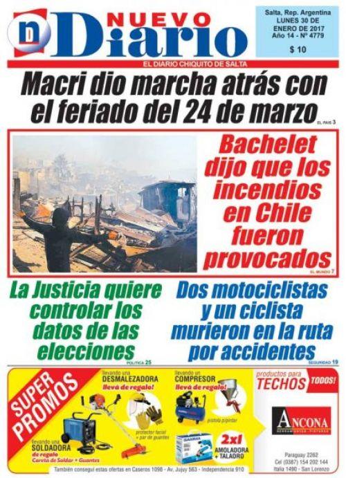 Tapa del 30/01/2017 Nuevo Diario de Salta
