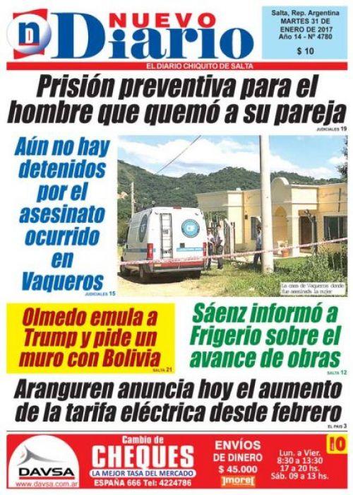 Tapa del 31/01/2017 Nuevo Diario de Salta