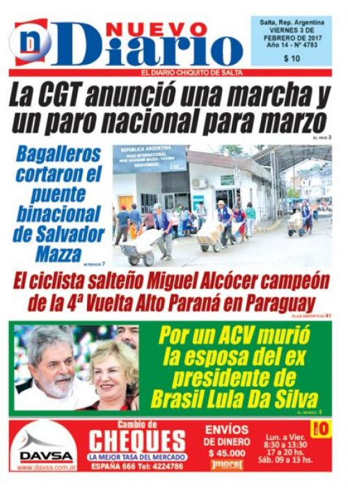 Tapa del 03/02/2017 Nuevo Diario de Salta