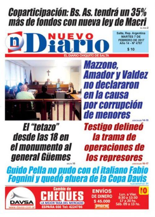 Tapa del 07/02/2017 Nuevo Diario de Salta