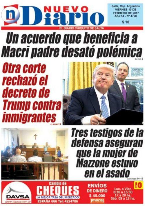 Tapa del 10/02/2017 Nuevo Diario de Salta