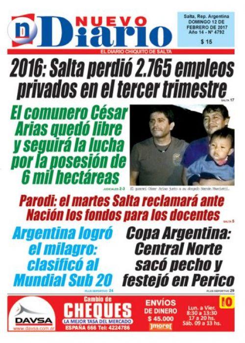 Tapa del 12/02/2017 Nuevo Diario de Salta