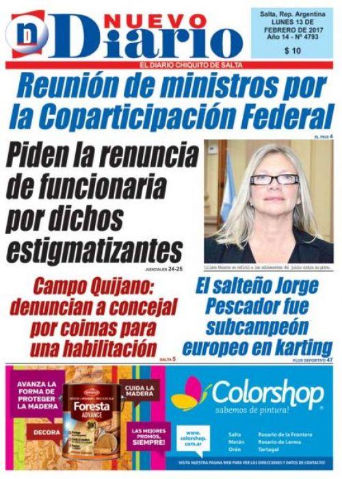 Tapa del 13/02/2017 Nuevo Diario de Salta