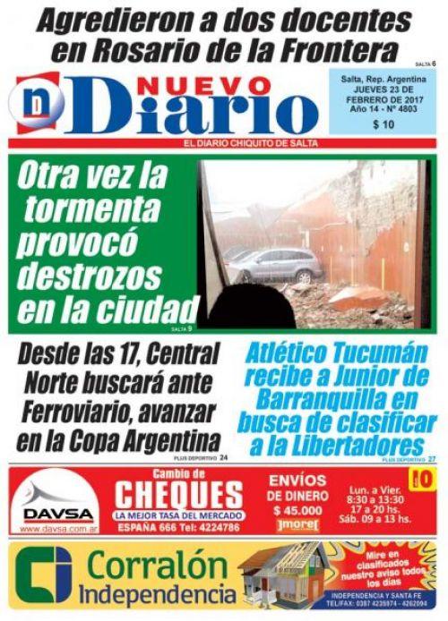 Tapa del 23/02/2017 Nuevo Diario de Salta