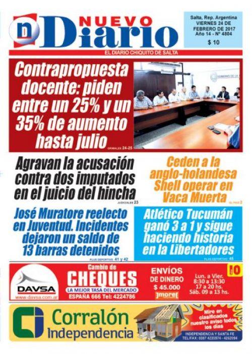 Tapa del 24/02/2017 Nuevo Diario de Salta