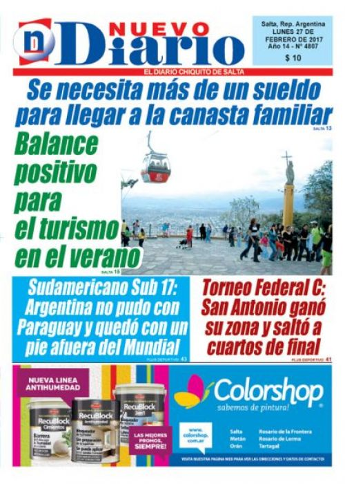 Tapa del 27/02/2017 Nuevo Diario de Salta
