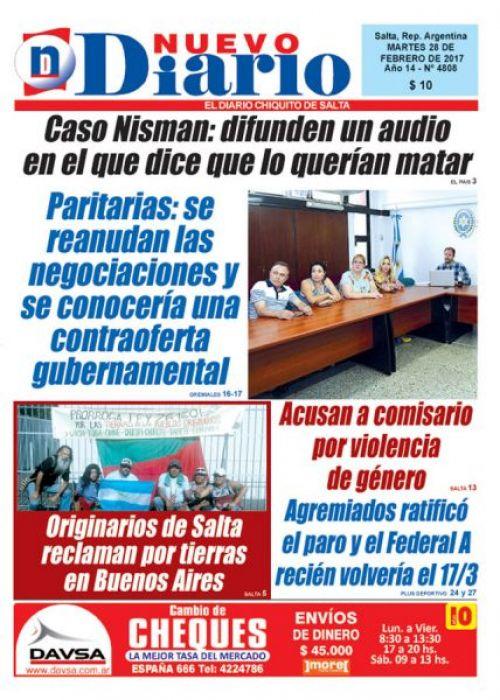 Tapa del 28/02/2017 Nuevo Diario de Salta