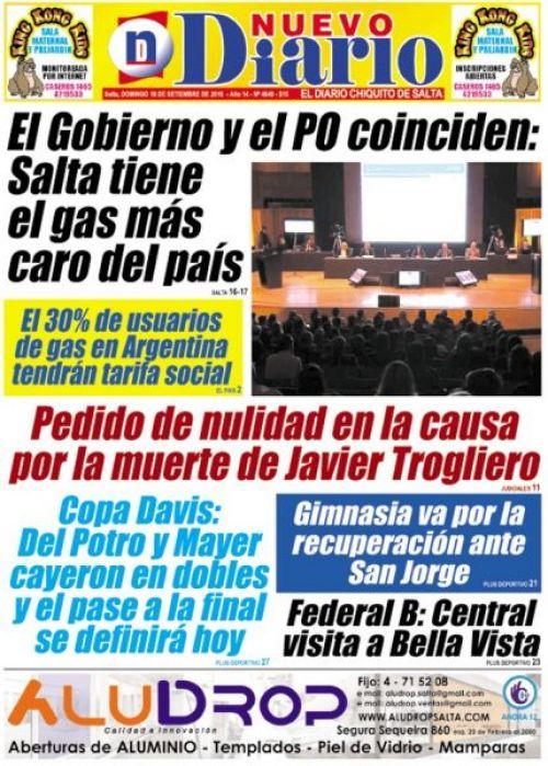 Tapa del 17/09/2016 Nuevo Diario de Salta