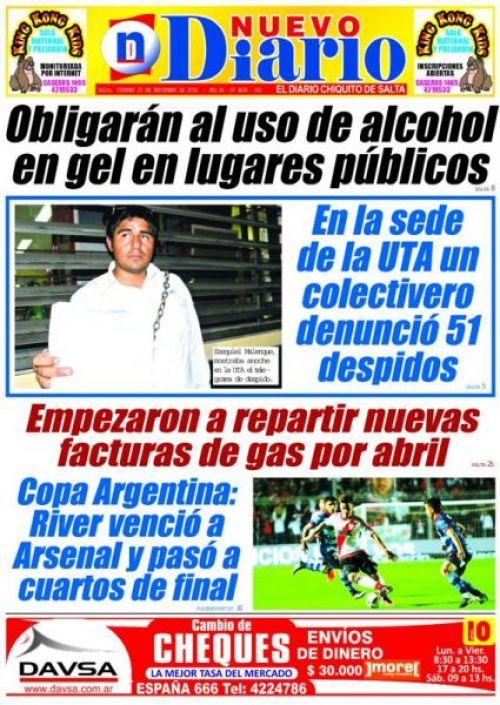 Tapa del 22/09/2016 Nuevo Diario de Salta