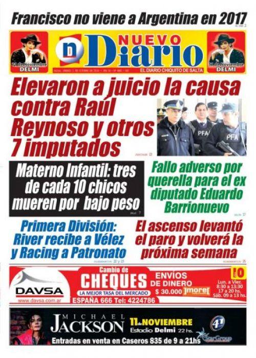 Tapa del 01/10/2016 Nuevo Diario de Salta