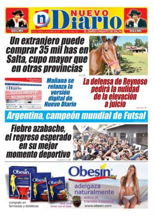 Tapa del 02/10/2016 Nuevo Diario de Salta
