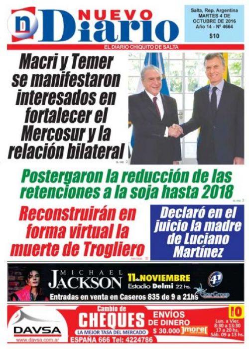 Tapa del 04/10/2016 Nuevo Diario de Salta