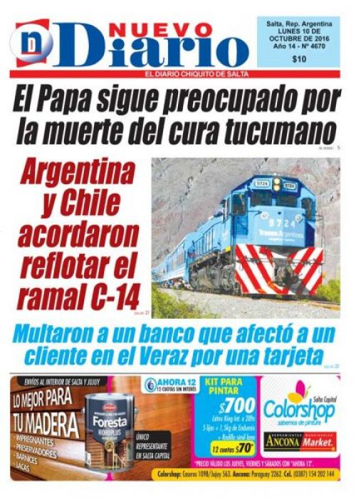 Tapa del 10/10/2016 Nuevo Diario de Salta