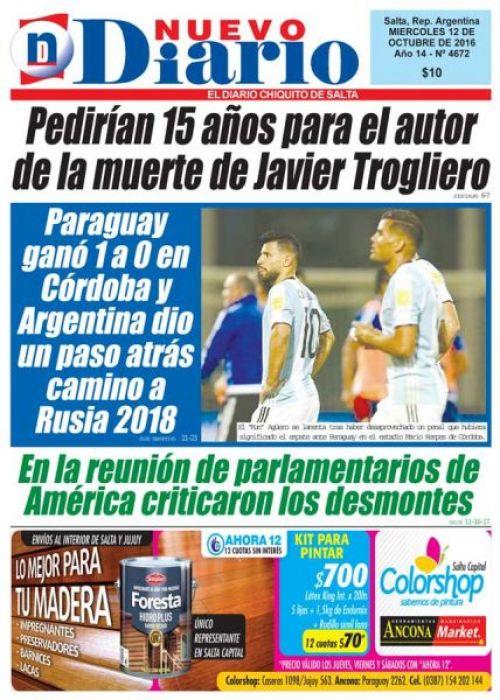 Tapa del 12/10/2016 Nuevo Diario de Salta