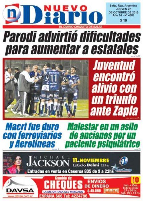 Tapa del 27/10/2016 Nuevo Diario de Salta