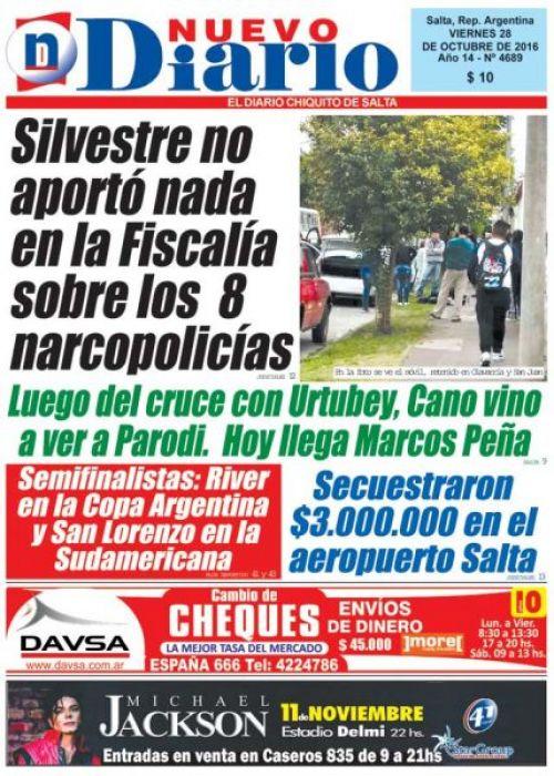 Tapa del 28/10/2016 Nuevo Diario de Salta