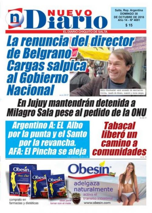 Tapa del 30/10/2016 Nuevo Diario de Salta