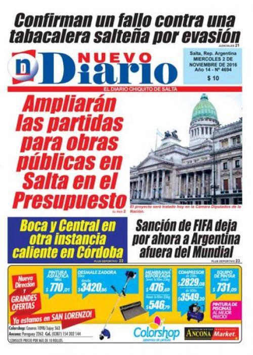 Tapa del 02/11/2016 Nuevo Diario de Salta