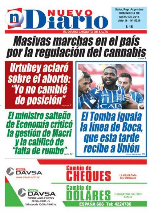 Tapa del 06/05/2018 Nuevo Diario de Salta