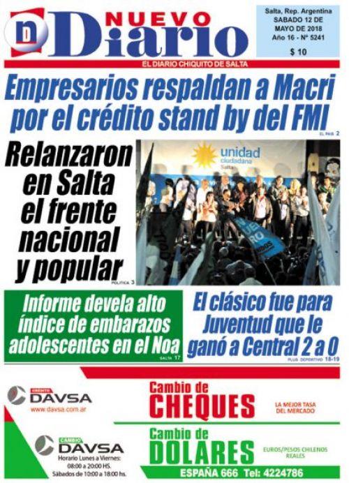 Tapa del 12/05/2018 Nuevo Diario de Salta